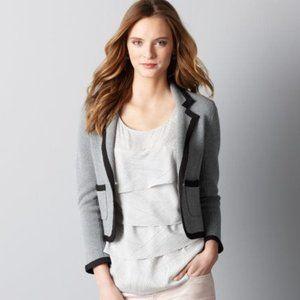 LOFT Grey Black Tipped Blazer Sweater Jacket